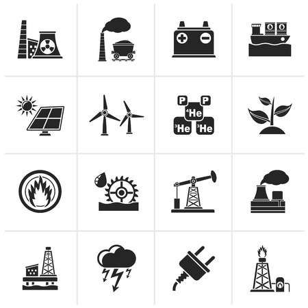 mine site: Black Electricity and Energy source icons - icon set Illustration