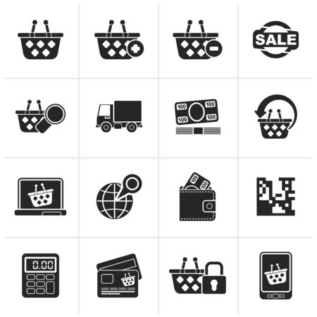 bankcard: Black shopping and retail icons - icon set Illustration