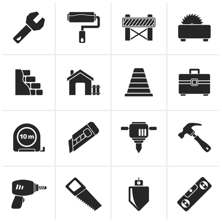 traffic barricade: Black Building and construction icons - icon set