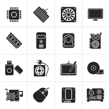 Black Computer part icons - icon set