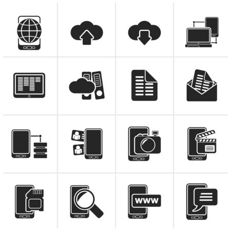 connection: Black Connection, communication and mobile phone icons - icon set