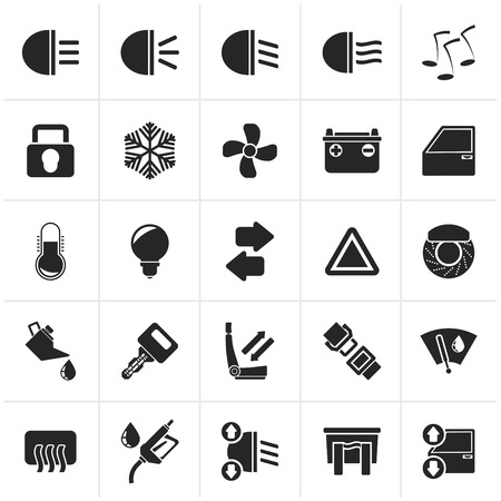 windshield wiper: Black Car interface sign and icons - icon set Illustration
