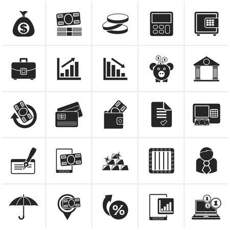 interests: Black Bank, business and finance icons - icon set
