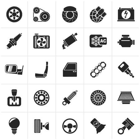 batteries: Black Car parts and services icons - icon set Illustration