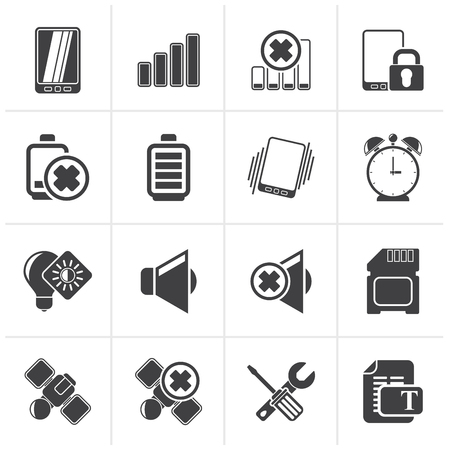 Black Mobile Phone sign icons - icon set Illustration