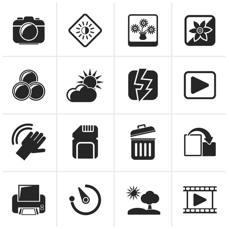 Black Photography and Camera Function Icons  - icon set