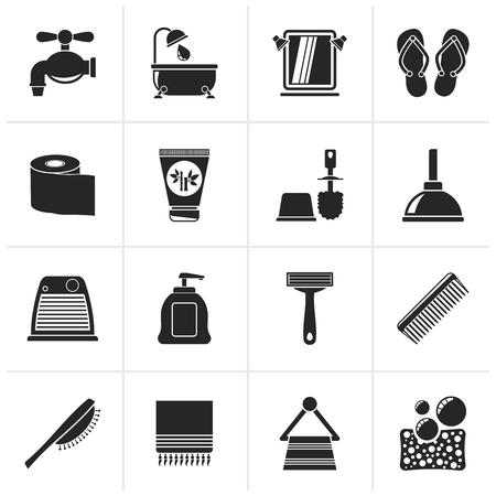 black bathroom: Black Bathroom and Personal Care icons- icon set