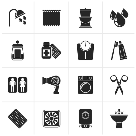 monoblock: Black Bathroom and Personal Care icons- icon set