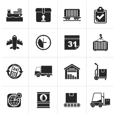 logistics: Black Logistic and Shipping icons - icon set