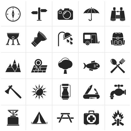 gas barbecue: Black Camping and tourism icons - icon set