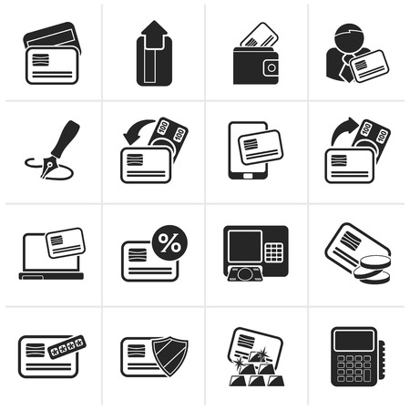 cardholder: Black credit card, POS terminal and ATM icons - icon set Illustration