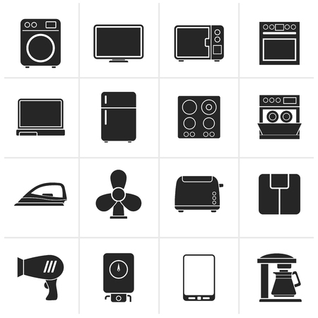 home appliance: Black home appliance icons - icon set Illustration