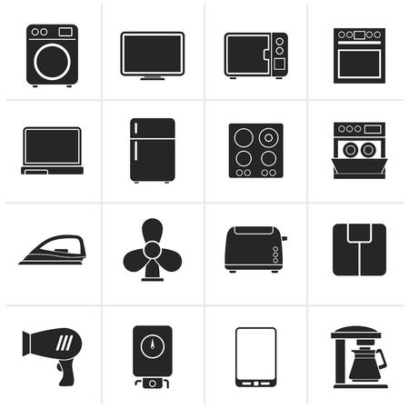 iron fan: Black home appliance icons - icon set Illustration