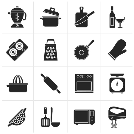 strainer: Black cooking tools icons - icon set Illustration