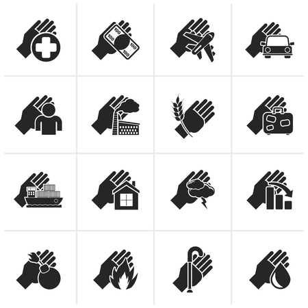 car bills: Black Insurance and risk icons - icon set Illustration