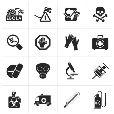 doctor gloves: Black Ebola pandemic icons - icon set