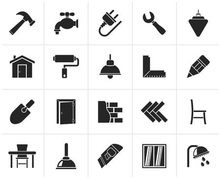 home renovation: Black Building and home renovation icons - icon set