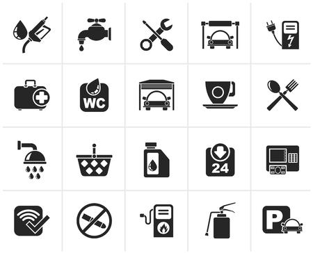 petrol station: Black petrol station icons - icon set