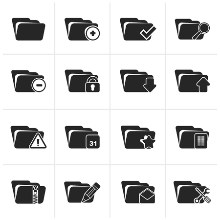 folder icons: Black Different kind of folder icons - icon set
