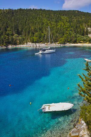 greece: Blue waters of Foki Fiskardo Beach, Kefalonia, Ionian islands, Greece