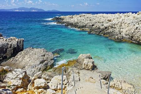 cefallonia: Blue waters  of Alaties Beach, Kefalonia, Ionian islands, Greece