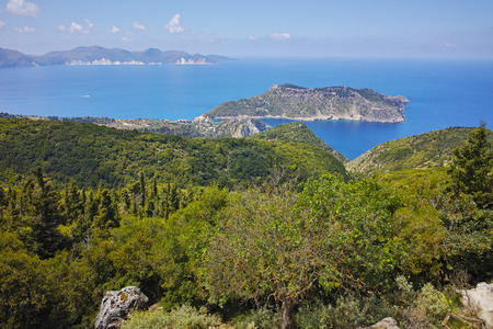cefallonia: Amazing Landscape of Assos village and beautiful sea bay, Kefalonia, Ionian islands, Greece Stock Photo