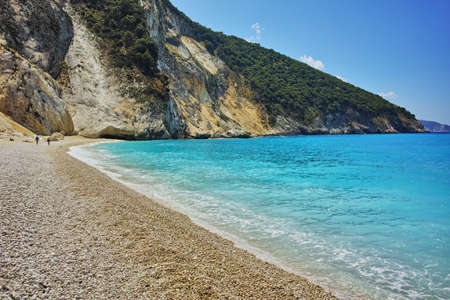 cefallonia: Blue waters of Myrtos beach, Kefalonia, Ionian islands, Greece