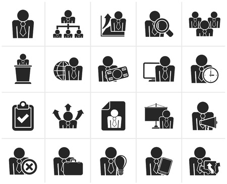 conference speaker: Black human resource and business icons - vector icon set Illustration