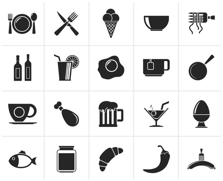 restaurant icons: Black Food, drink and restaurant icons - vector icon set Illustration