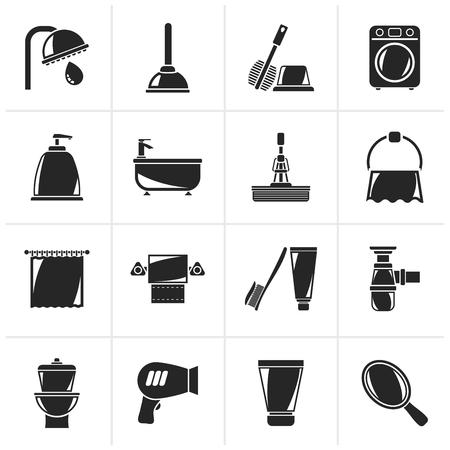 black bathroom: Black Bathroom and hygiene objects icons -vector icon set