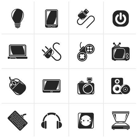 electronics icons: Black Electronic Devices objects icons - vector icon set