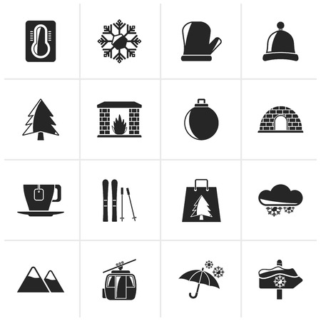 trees services: Black Winter, Sport and relax icons - vector icon set