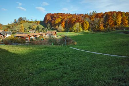 interlaken: Autumn Landscape of Green meadows near town of Interlaken, canton of Bern, Switzerland