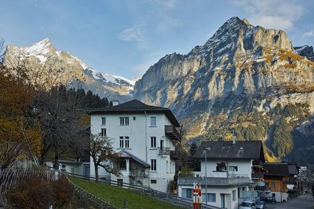 interlaken: Village of Grindelwald and Alps near town of Interlaken, Switzerland Stock Photo