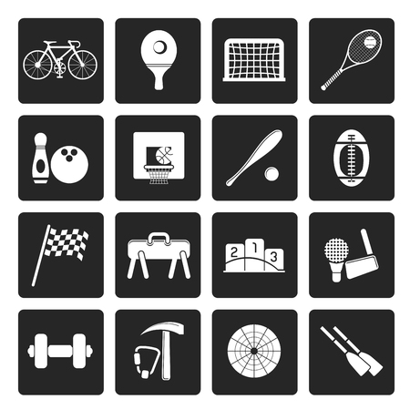 sports gear: Black Simple Sports gear and tools icons - vector icon set Illustration