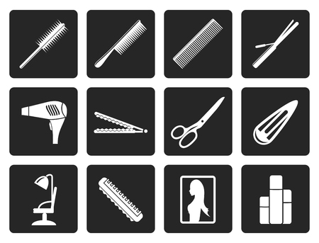 drier: Black hairdressing, coiffure and make-up icons - vector Icon Set