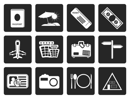 plate camera: Black Simple Travel and trip Icons- Vector Icon Set