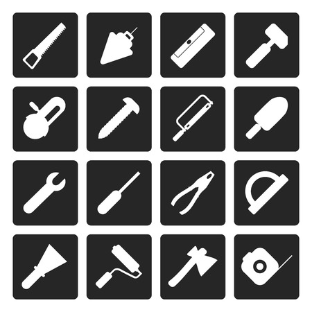 tools icon: Black Construction and Building Tools icons - Vector Icon Set