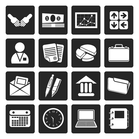 bank book: Black Simple Business and office icons - Vector Icon Set