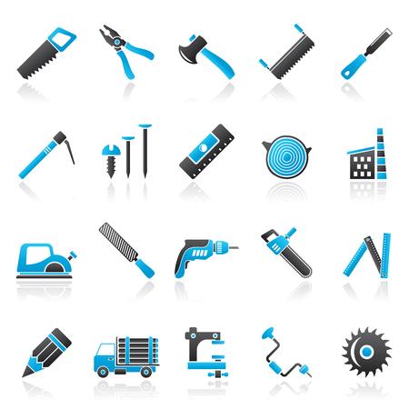 Carpentry, logging and woodworking icons - vector icon set Ilustração