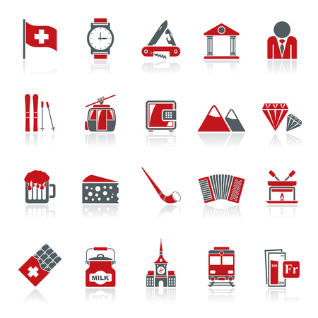switzerland flag: Switzerland industry and culture icons  - vector icon set