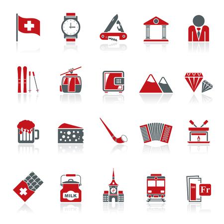 Szwajcaria przemysłu i kultury ikony - zestaw ikon wektorowych