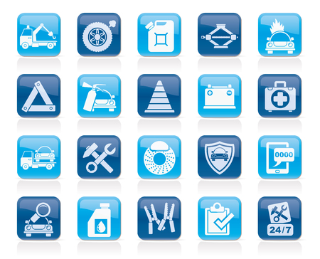 Roadside Assistance and tow  icons  - vector icon set