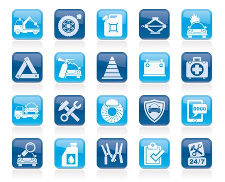 Roadside Assistance en sleeptouw iconen - vector icon set Vector Illustratie