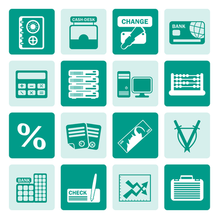 interests: Black bank, business, finance and office icons - vector icon set Illustration