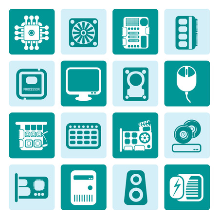 lan: Black Computer  Performance and Equipment Icons - Vector Icon Set Illustration