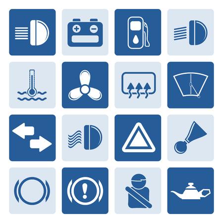 car safety: Black Car Dashboard - simple vector icons set Illustration