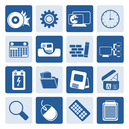 mobile internet: Black Computer, mobile phone and Internet Vector Icon Set