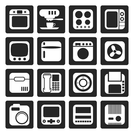 climatic: Black Home and Office, Equipment Icons - Vector Icon Set
