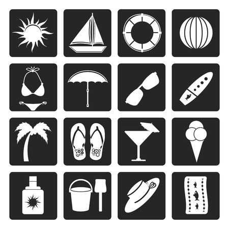 towel: Black Summer and Holiday Icons - Vector Icon Set